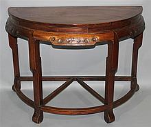 PAIR OF CHINESE SOFTWOOD D-FORM TABLES