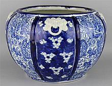 JAPANESE BLUE AND WHITE FLUTED GLOBULAR JARDINIERE