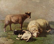 LOUIS ROBBE (BELGIAN, 1806-1887) SHEEP AND GOAT IN A LANDSCAPE Oil on card laid on board: 17 1/2 x 21 in.