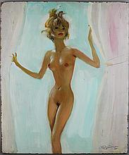 JEAN-GABRIEL DOMERGUE (FRENCH, 1889-1962) NU - NUDE Oil on board: 21 1/2 x 18 in.