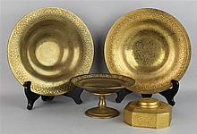FOUR TIFFANY STUDIOS GILT BRONZE PIECES
