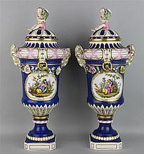 PAIR OF BERLIN PORCELAIN LAPIS GROUND URNS