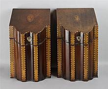 PAIR OF GEORGE III INLAID MAHOGANY KNIFE BOXES