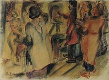 ELLEN DONOVAN (AMERICAN, 1903-1977) UNTITLED (ART CLASS) Pastel on paper: 12 x 16 in.