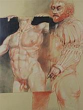 ROBERT A. NELSON (AMERICAN, 1925-) MICHELANGELO PRESENTS DRAWING TO RAPHAEL Black and red conte crayon on paper: 38 x 28 1/2 in. (si...