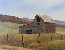 ROBERT TUCKWILLER (AMERICAN, 1953-) BARN OFF RT. 219 MONROE COUNTRY, WVA Acrylic on canvas: 14 x 18 in.