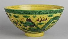 CHINESE YELLOW-GROUND DRAGON BOWL, KANGXI SIX-CHARACTER MARK IN UNDERGLAZE BLUE WITHIN A DOUBLE CIRCLE