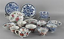 TWENTY-TWO PIECES CHINESE DISHES, WINE CUPS AND A SMALL POURING VESSEL