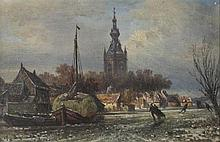 VAN BLOMMEL (DUTCH, 19TH CENTURY) WINTER SCENE Oil on panel: 5 1/4 x 9 1/4 in.
