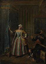 CIRCLE OF HOGARTH (BRITISH, 18TH CENTURY) CAUGHT IN THE BOUDOIR Oil on canvas: 26 x 18 1/2 in.
