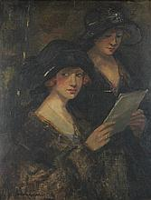 EUROPEAN SCHOOL (19TH/20TH CENTURY) WOMEN AT A GALLERY Oil on canvas: 24 x 19 in.