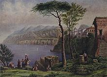 EUROPEAN SCHOOL (19TH CENTURY) ITALIAN COASTAL SCENE WITH FIGURES Watercolor on paper: 12 3/8 x 17 in. (sight)
