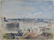 HERCULES BRABAZON BRABAZON (BRITISH, 1821-1906) MEDITERRANEAN CITYSCAPE Watercolor: 8 1/2 x 11 in.