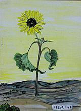 FLEUR FENTON COWLES (AMERICAN, 1908-2009) SUNFLOWER, 1961 along with three FLAIR magazines Mixed media: 4 x 3 in. (sight)