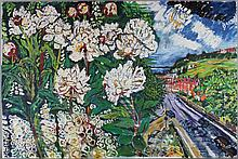 JOHN BRATBY (BRITISH, 1928-1992) WHITE FLOWERS Oil on canvas: 32 x 48 in.