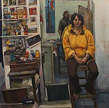 MARTIN LEA BROWN (BRITISH, 1978-) STUDIO PORTRAIT, 1998 Oil on canvas: 59 x 58 1/2 in.