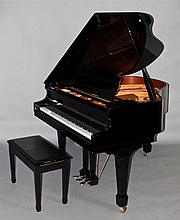 SAMICK EBONIZED BABY GRAND PIANO, MODEL SG-150C, WITH INSTALLED QRS PIANOMATION MIDI SYSTEM