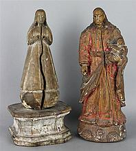 TWO CARVED WOOD SANTOS FIGURES
