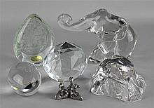 FIVE CLEAR GLASS PAPERWEIGHTS