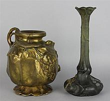TWO ART NOUVEAU VASES, ONE BRONZE AND ONE PEWTER