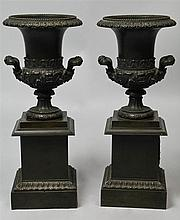 PAIR OF PATINATED METAL CAMPAGNA URNS