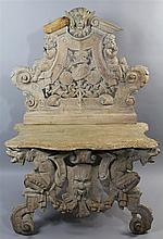 ROCOCO-STYLE CARVED LIMED WOOD BENCH