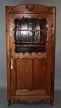 TALL LOUIS XV STYLE CARVED WALNUT CUPBOARD