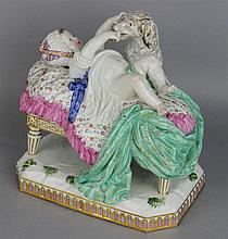 MEISSEN STYLE FIGURE OF A BABY AND A SPANIEL 'LA DOUCEUR DE L'ENFACE'