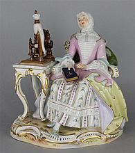 MEISSEN STYLE FIGURE OF A LADY WITH A SPINNING WHEEL