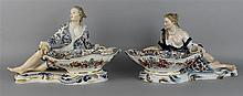 PAIR OF MEISSEN STYLE PORCELAIN FIGURAL SWEETMEAT DISHES