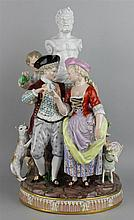 MEISSEN LATER DECORATED FIGURE GROUP