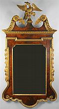 GEORGE III STYLE MAHOGANY AND GILTWOOD MIRROR