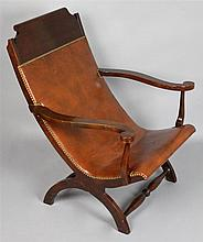 CAMPECHE STYLE CHERRYWOOD AND LEATHER CHAIR