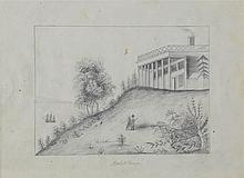AUGUSTUS MERRILL (AMERICAN, 19TH CENTURY) MOUNT VERNON Graphite on paper: 6 x 8 in.