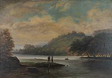 ATTRIBUTED TO THOMAS BIRCH THE HUDSON VALLEY Oil on panel: 17 x 24 in.