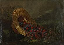 AMERICAN SCHOOL (19TH CENTURY) STRAW HAT WITH CHERRIES Oil on canvas: 16 x 24 in.