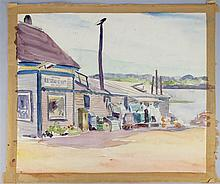 ALLEN ERSKINE PHILBRICK (AMERICAN, 1879-1964) RESTAURANT AND LOBSTER POUND IN MAINE Watercolor on paper: 18 1/2 x 21 1/2 in.