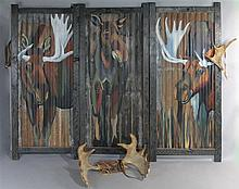 A. D. MADDOX, 2001, POLYCHROME PAINTED FOLDING SCREEN TOGETHER WITH A PAIR OF NATURALLY SHED MOOSE ANTLERS AND BEADED BREASTPLATE