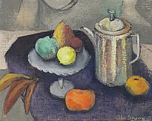 ELLEN DONOVAN (AMERICAN, 1903-1977) STILL LIFE WITH TEAPOT Oil on board: 15 1/2 x 19 3/4 in.