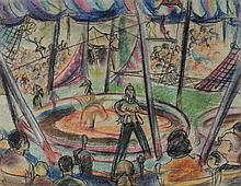 ELLEN DONOVAN (AMERICAN, 1903-1997) CIRCUS Pastel on paper: 13 x 17 in. (sight)