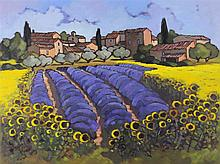 LORRAINE JORDAN (AMERICAN, 1941-) LAVENDER AND SUNFLOWER FIELDS PROVENCE Oil on canvas: 20 x 26 in.