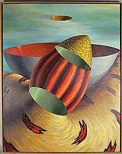 PATRICK CRAIG (AMERICAN, 1950-) CUT BOWLS, 1995 Acrylic on canvas: 38 x 30 in.