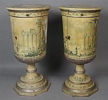 PAIR OF CONTINENTAL CLASSICAL STYLE PAINT DECORATED URN SHAPED PEDESTAL CABINETS