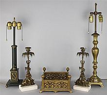 TWO CANDLESTICKS, TWO TABLE LAMPS AND AN UMBRELLA STAND