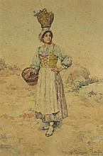 CLELIA BOMPIANI BATTAGLIA (ITALIAN, 1847-1927) PEASANT WOMAN WITH BASKETS Watercolor on paper: 20 x 13 1/2 in. (sight)