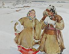 ANDREI HUDIAKOFF (RUSSIAN/AMERICAN, 1896-1985) RUSSIAN PEASANT SNOW SCENE Watercolor and gouache on paper: 21 x 27 in. (sight)