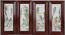 CHINESE SMALL PORCELAIN FOUR PANEL TABLE SCREEN