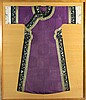 CHINESE MANCHU STYLE PURPLE SILK ROBE IN FRAME