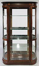FEDERAL STYLE MAHOGANY CURVED LIGHTED GLASS DISPLAY CABINET