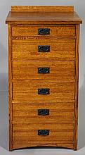 MICHAEL'S FURNITURE CRAFTSMAN STYLE OAK TALL CHEST OF DRAWERS WITH CEDAR LINING